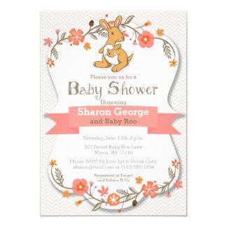 Blom- baby showerinbjudan för söt känguru 12,7 x 17,8 cm inbjudningskort