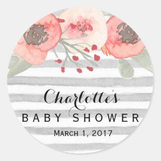 Blom- baby showerklistermärke för persika och för runt klistermärke