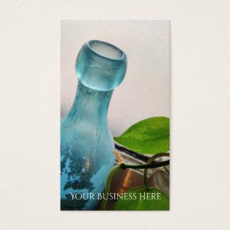 Blom- blåttfönster för antik glasflaska visitkort