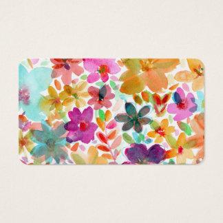 Blom- Boho för regnbågevattenfärgblom visitkort