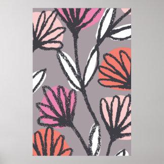 Blom- botanisk affisch för hand plockade