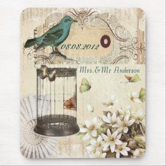 Blom- botaniskt bröllop för krickafågelvintage mus matta