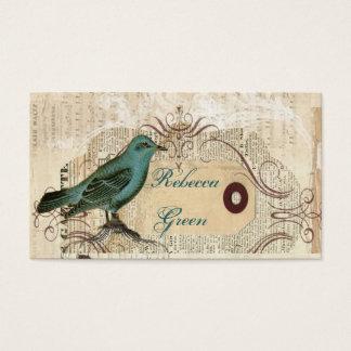 Blom- botaniskt bröllop för krickafågelvintage visitkort