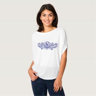 Blom- broderi Bella för blått Tee Shirts