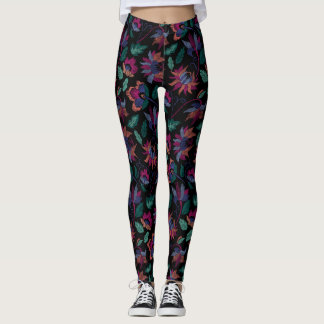 Blom- broderi leggings