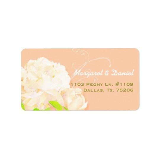 Blom- bröllop för elegant persikapion adressetikett