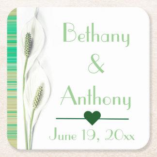Blom- bröllop för elegantgrönt- och vitlilja underlägg papper kvadrat
