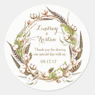 Blom- bröllop för lantlig bomull runt klistermärke