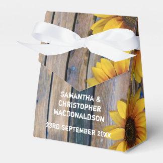 Blom- bröllop för lantligt gult solrosland presentaskar