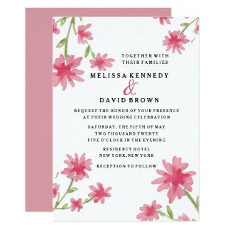 Blom- bröllop för nätt rosa vattenfärg 12,7 x 17,8 cm inbjudningskort