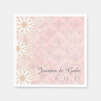 Blom- bröllop för rosa daisy för vit damastast papper servetter