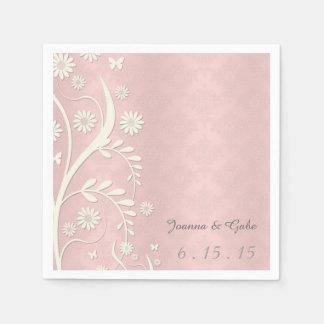 Blom- bröllop för rosa daisy för vit damastast servett