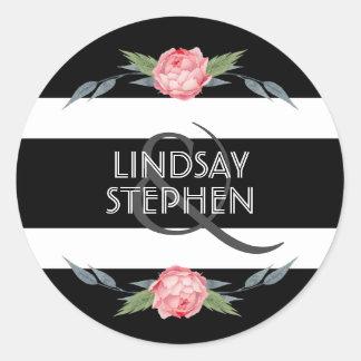 Blom- bröllop för svartvita randar runt klistermärke