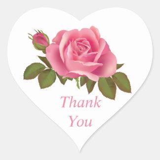 Blom- bröllop för tackrosa rosblomma hjärtformat klistermärke