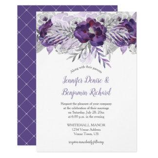 Blom- bröllop | för ultravioletta lavendelgrått 12,7 x 17,8 cm inbjudningskort