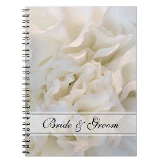 Blom- bröllop för vitnejlika anteckningsbok med spiral