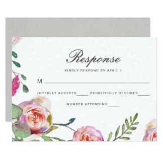 Blom- bröllop OSAkort för vattenfärg i grått 8,9 X 12,7 Cm Inbjudningskort