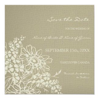 Blom- bröllop spara datumkort för vintage fyrkantigt 13,3 cm inbjudningskort