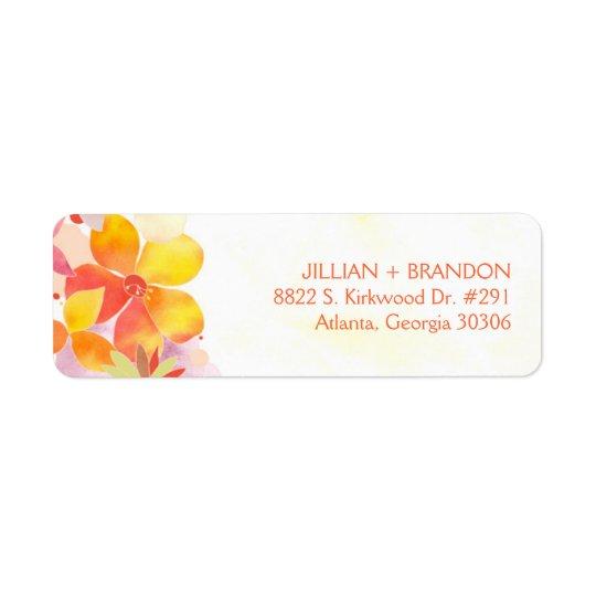 Blom- bröllopadress för vattenfärg returadress etikett
