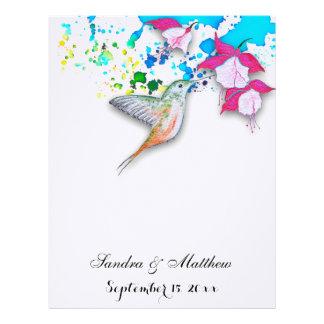Blom- bröllopbrevpapper för Hummingbird & för Brevhuvud
