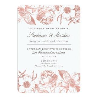 Blom- bröllopinbjudan för rosa guld- vintage 12,7 x 17,8 cm inbjudningskort