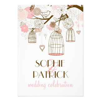 Blom- bröllopinbjudan för rosa nyckfulla fågelbura