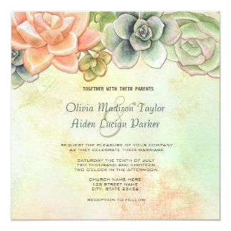Blom- bröllopinbjudan för suckulent vattenfärg fyrkantigt 13,3 cm inbjudningskort