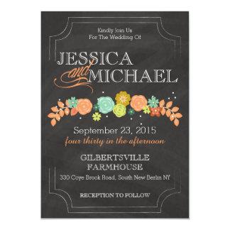 Blom- bröllopinbjudan för svart tavla 12,7 x 17,8 cm inbjudningskort