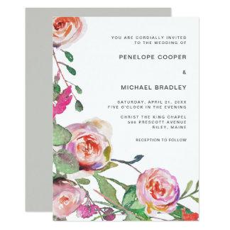 Blom- bröllopinbjudan för vattenfärg i grått 12,7 x 17,8 cm inbjudningskort
