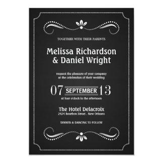 Blom- bröllopinbjudningar för gullig svart tavla 12,7 x 17,8 cm inbjudningskort