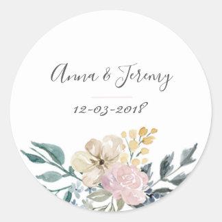 Blom- bröllopklistermärke för vintage runt klistermärke