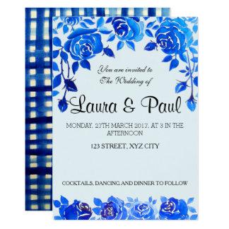 Blom- bröllopkort för indigoblå blått 12,7 x 17,8 cm inbjudningskort