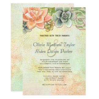 Blom- brölloppersika för suckulent vattenfärg 12,7 x 17,8 cm inbjudningskort
