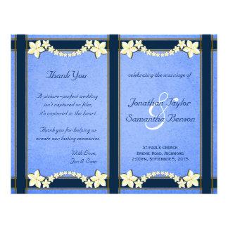 Blom- bröllopsprogrammallar för lantliga blått reklamblad