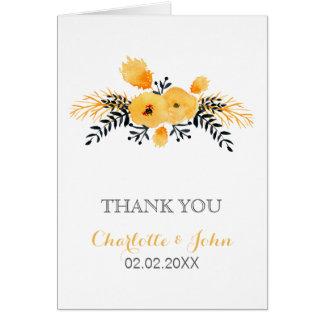 blom- brölloptack för gul grå vattenfärg hälsningskort