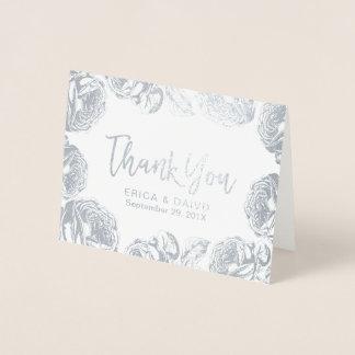 Blom- brölloptack för modernt silver folierat kort