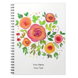Blom- bukett för ljusa blommor, vattenfärgmålning anteckningsbok
