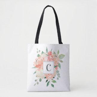 Blom- bukett för persika med någon Monogram Tygkasse