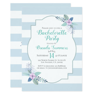 Blom- bukettpastell görar randig den Bachelorette 12,7 X 17,8 Cm Inbjudningskort