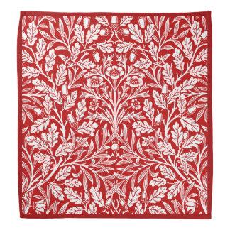 Blom- damast för art nouveau, röd mörk - och vit wrap för huvud