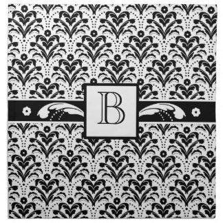Blom- damastast beställnings- Monogram för elegant Tygservett