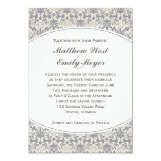 Blom- damastast snörebröllopinbjudan 12,7 x 17,8 cm inbjudningskort