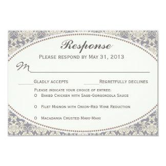 Blom- damastast snöreOSA som gifta sig svarskort 8,9 X 12,7 Cm Inbjudningskort