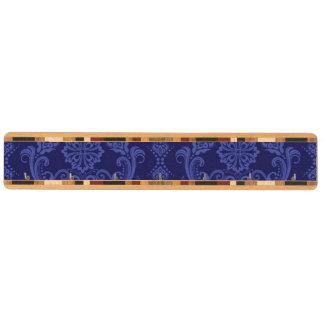 Blom- damastast tapet för lyxiga blått nyckelhängare