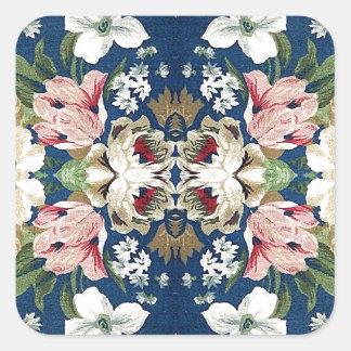 Blom- dekorativt bakgrundsmönster för tyg fyrkantigt klistermärke