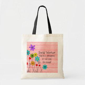 Blom- design för socialarbetarecitationstecken tygkasse