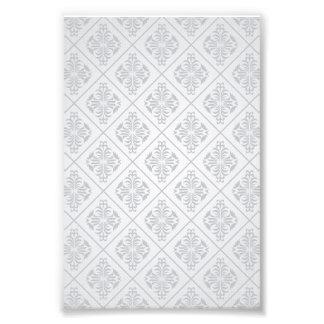 Blom- diamantmönster för vit fototryck