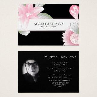 blom- elegant begravning för vintage visitkort