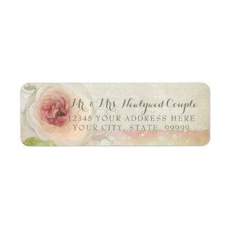Blom- elegant konst för returadressvintagepion returadress etikett