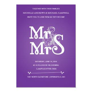 Blom- et-teckenbröllopinbjudan i grå färg & Pur 12,7 X 17,8 Cm Inbjudningskort